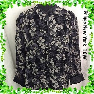 Briggs NY Black Beige Gray Floral Jacket Size 16W
